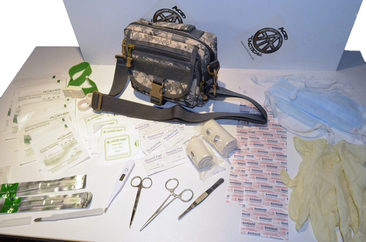 "Trauma Field medic 50pc Kit - 9"" Molle pouch - Choose Color"