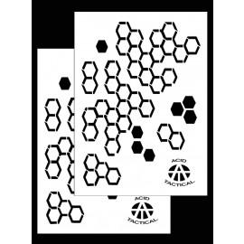 "14x9"" Hexacam Camo Stencils - Airbrush, Spray Paint Stencils, Duracoat, (2 Pack)"