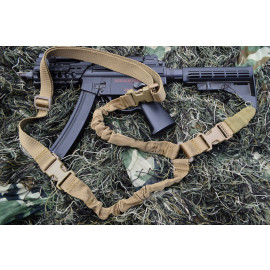 Single Point Bungee Rifle / Shotgun Sling with QD & Clasp covers (TAN)