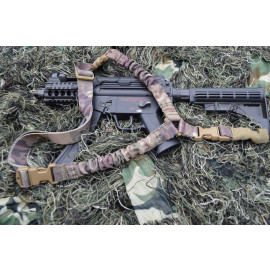 Single Point Bungee Rifle / Shotgun Sling with QD & Clasp covers (Woodland Camo)