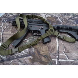 Single Point Bungee Rifle / Shotgun Sling with QD & Clasp covers (GREEN)