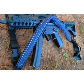 Tri-Color Paracord Rifle Gun Sling 2 or 1 Point Quick Detach - Blue neon