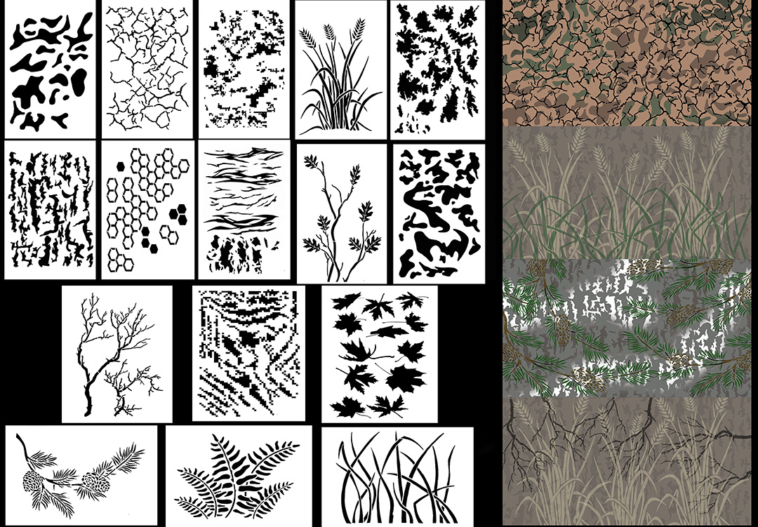 photo regarding Free Printable Camo Stencils for Guns identify Camouflage Spray Paint Stencils - Several Camo Stencil plans
