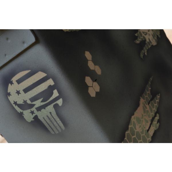 3PK Adhesive Easy Peel Spray Paint Duracoat Camo Gun Stencil TORN MICRO HEX  PUNISHER SET