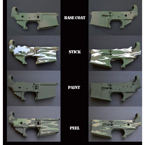 2pk ADHESIVE Camouflage Spray Paint Gun Stick-on Stencils TIGER STRIPE
